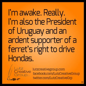 I'm awak. Really. I'm also the President of Uruguay and an ardent supporter of ferret's right to drive Hondas.