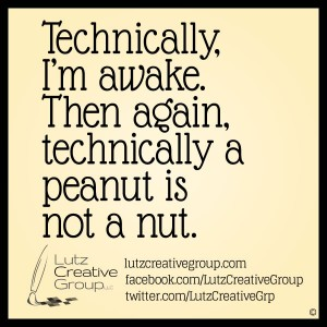Technically, I'm awake. Then again, technically a peanut is not a nut.